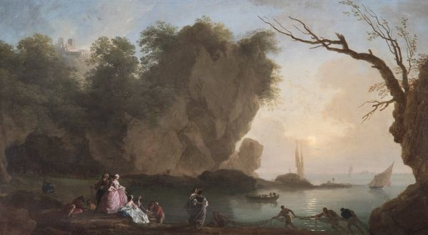 vernet sunset view over a bay with figures n070601