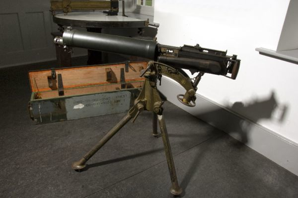 PENDENNIS CASTLE, Falmouth, Cornwall. Detail of Vickers machine gun found in the Storehouse