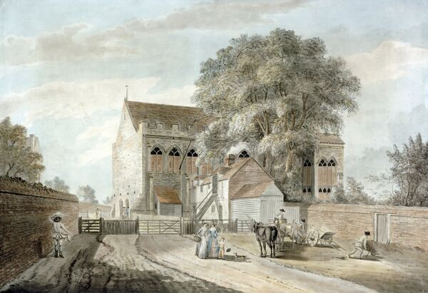"ELTHAM PALACE, London. ""View of the Great Hall"" c.1781. Circle of Paul SANDBY (1730/1-1809). The Great Hall was built for Edward IV in the 1470s and Henry VIII spent much of his childhood here"