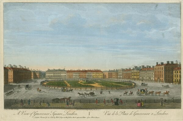 "MAYSON BEETON COLLECTION. ""A View of Grosvenor Square, London"" Coloured engraving, c. 1750"