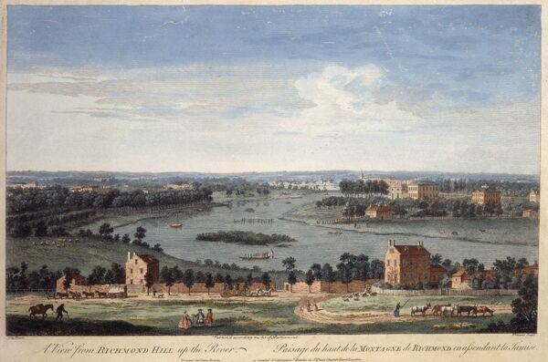 MARBLE HILL HOUSE, Richmond, Twickenham, Middlesex. Engraving of the view from Richmond Hill