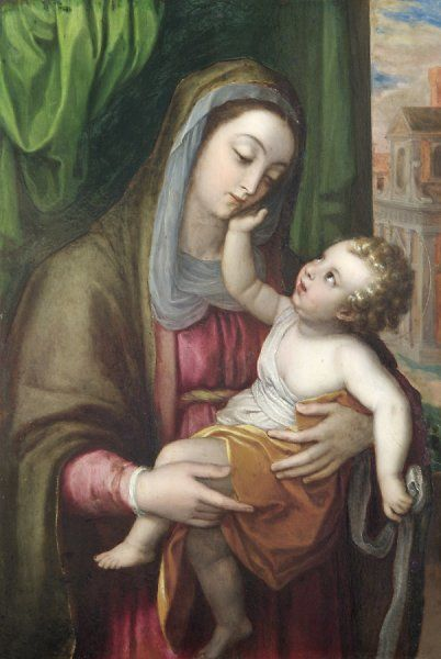 "APSLEY HOUSE, London. ""Virgin and Child"" - Italian school c.1600. Doubtfully attributed to Lavinia Fontana (1552-1602). Previously part of the Spanish Royal Collection. Captured by Wellington at Vitoria in 1813. WM 1622-1948"