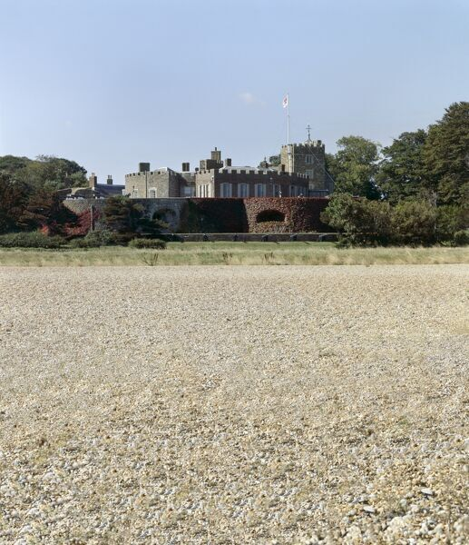 WALMER CASTLE AND GARDENS, Kent. View of the castle from the beach