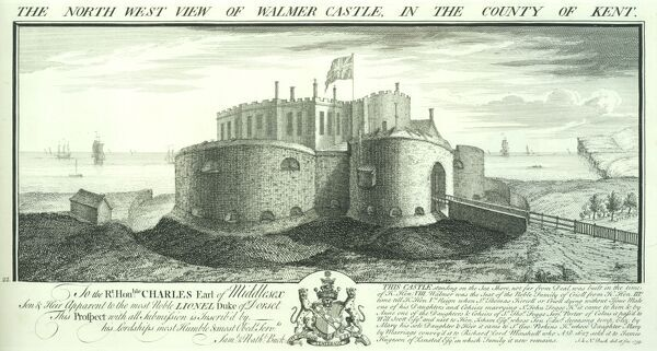 WALMER CASTLE, Kent.'North west view of Walmer Castle in the county of Kent' by Samuel and Nathaniel Buck