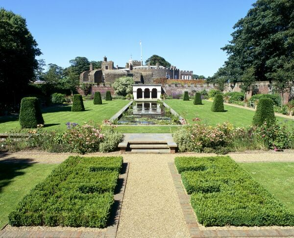 WALMER CASTLE AND GARDENS, Kent. View of the Queen Mother's Garden