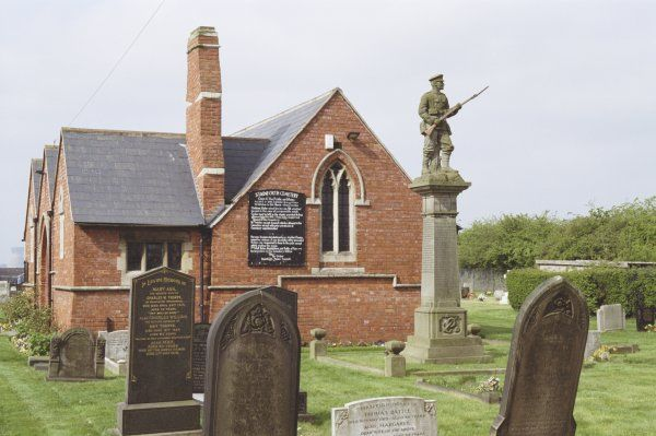 War memorial sited immediately East of Chapel at Stainforth Cemetery, c1920. Sculptors: Tyas and Guest of Swinton, near Rotherham. South Yorkshire. IoE 334649