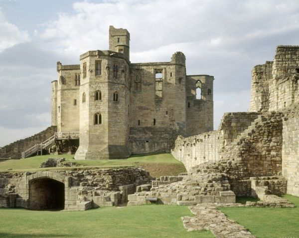WARKWORTH CASTLE, Northumberland. The keep and the inner ward from the south