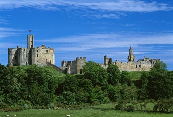WARKWORTH CASTLE, Northumberland. General view of the castle