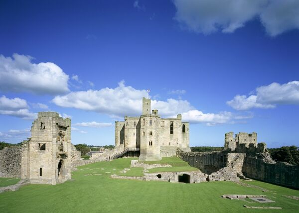 WARKWORTH CASTLE, Northumberland. View looking across the Outer Bailey from the upper floor of the Gatehouse towards the Keep
