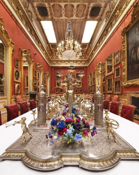 APSLEY HOUSE, London. View of the Waterloo Gallery dressed for a banquet. The Portuguese Service