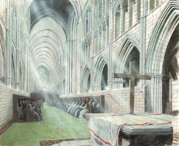 WAVERLEY ABBEY, Surrey. Reconstruction drawing of interior of abbey church by Ivan Lapper