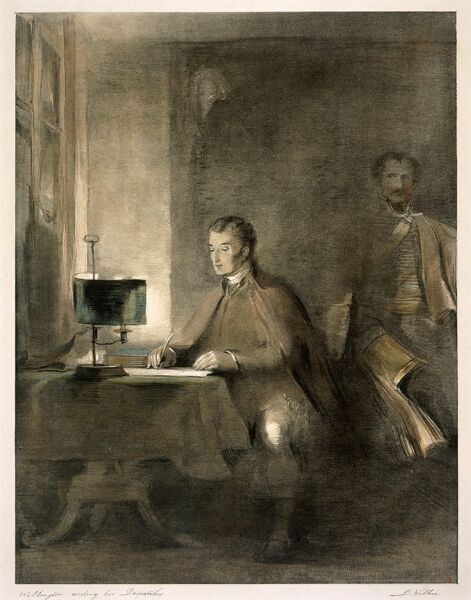 "APSLEY HOUSE, London. Print of ""Wellington Writing His Despatches"" by D. Wilkie"