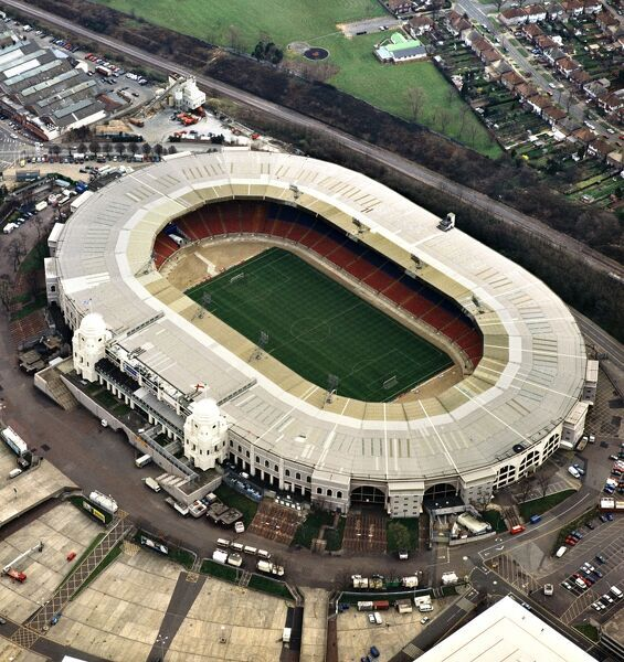 WEMBLEY STADIUM, London. Aerial view of the old sports ground. Wembley hosted several games including the final of the 1966 football World Cup