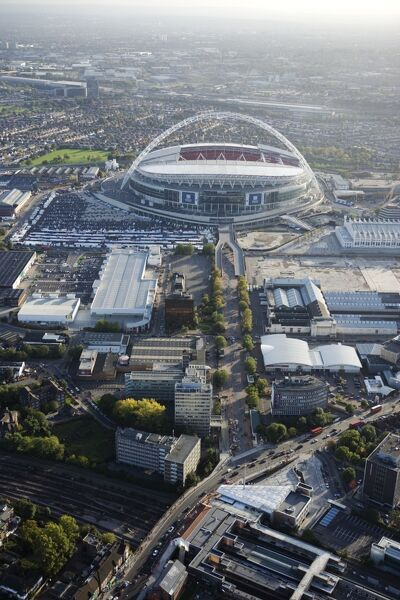 WEMBLEY STADIUM, London. Aerial view of the stadium and surrounding area