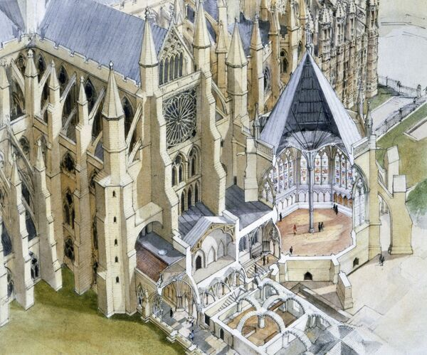 WESTMINSTER ABBEY: CHAPTER HOUSE, London. Reconstruction drawing cutaway showing interior of Vestibule, Pyx Chamber and Cloister by Terry Ball (English Heritage Graphics Team). Also shows South Transept