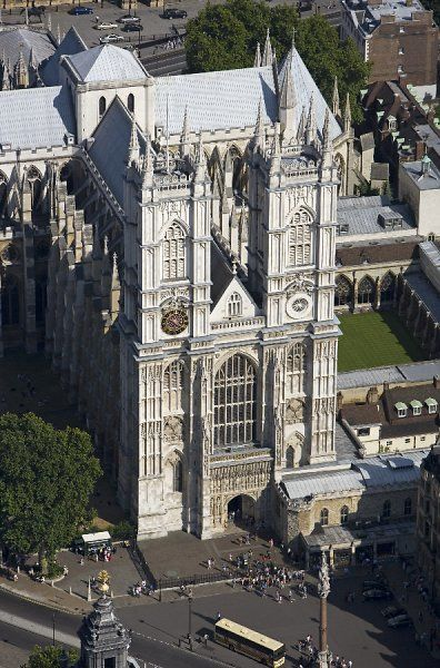 WESTMINSTER ABBEY, London. An aerial view of the west elevation