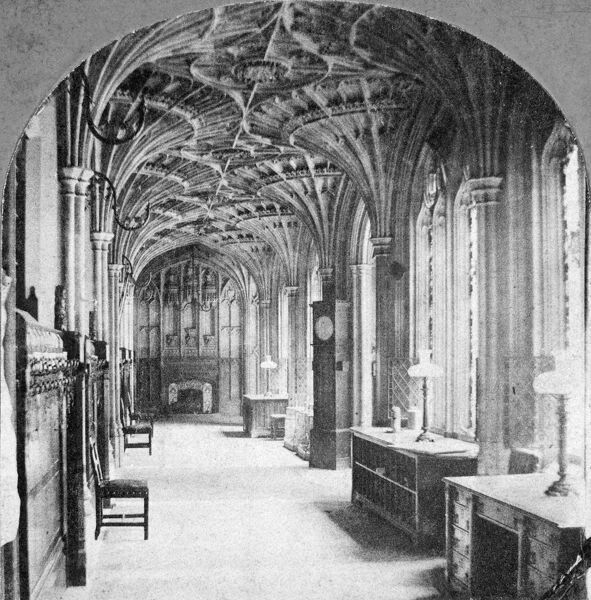 OLD ST STEPHEN'S CLOISTER, Palace of Westminster, London. St Stephen's Cloister was part of the old Palace of Westminster, and dates from 1526-9. The vaulted roof of the lower walk (seen here) contains the arms and symbols of Henry VIII