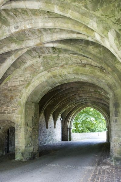 WHALLEY ABBEY GATEHOUSE, Lancashire. Interior view of the 14th century Gatehouse showing the vaulted ceiling