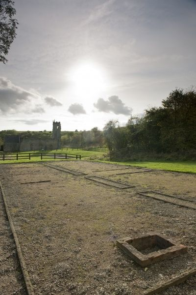 WHARRAM PERCY DESERTED MEDIEVAL VILLAGE, North Yorkshire. Outline of the south farmyard and 18th century cottages