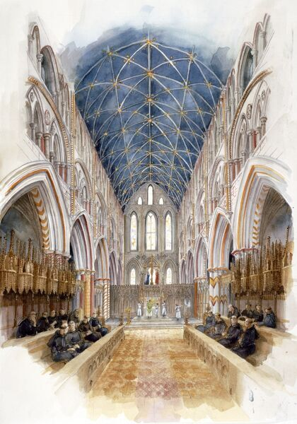 WHITBY ABBEY, North Yorkshire. A reconstruction drawing of the church nave in 1500 by Judith Dobie, English Heritage Graphics Team
