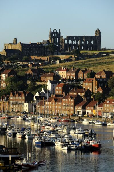 WHITBY ABBEY, North Yorkshire. View from across the harbour