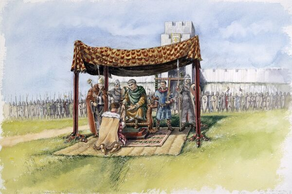 OLD SARUM, Wiltshire. Reconstruction drawing of William the Conqueror receiving the barons in 1086, by Peter Dunn (English Heritage Graphics Team)