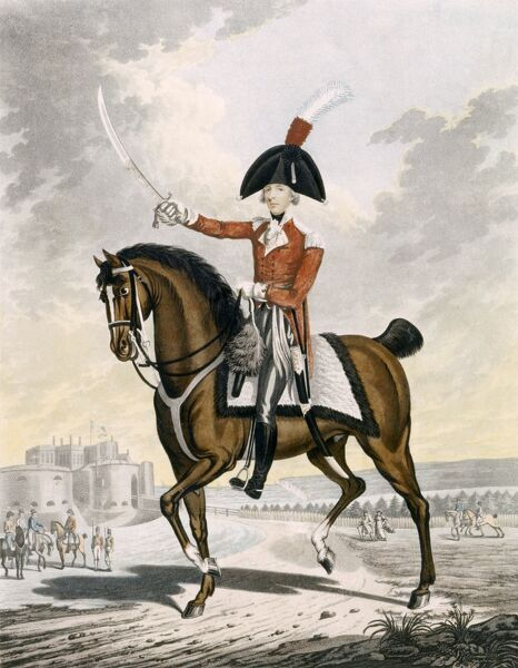 WALMER CASTLE, Kent. Coloured engraving of the Right Honourable William Pitt the Younger (1759-1806) in military garb on horseback with Walmer Castle (or an equivalent fortification) in the background