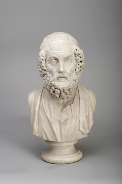 KENWOOD HOUSE, THE IVEAGH BEQUEST, London. Marble bust of Homer by Joseph WILTON R.A. (1722-1803)