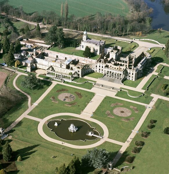 WITLEY COURT AND GARDENS, Worcestershire. Aerial view