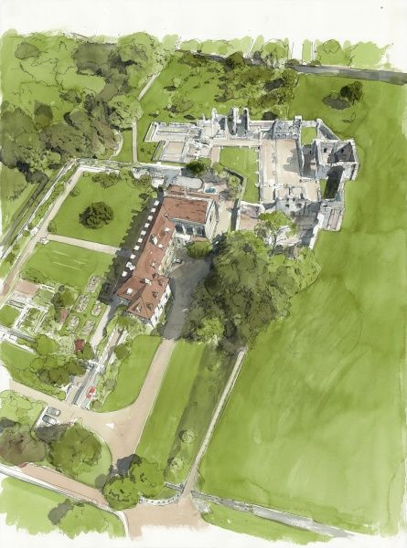 WOLVESEY: OLD BISHOPS PALACE, Winchester, Hampshire. Present day aerial orientation by Liam Wales showing site from the south