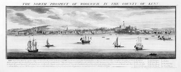 Royal Naval Dockyard, Woolwich, London. This image of the dockyard at Woolwich was created in 1739 by Samuel and Nathaniel Buck