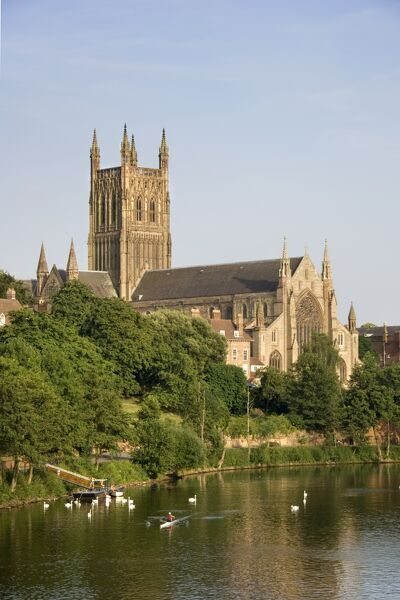 WORCESTER CATHEDRAL, Worcestershire. View of the cathedral and the River Severn from the north west