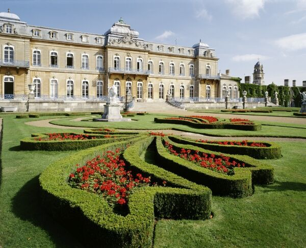 WREST PARK HOUSE AND GARDENS, Silsoe, Bedfordshire. Exterior view of the house with parterre in the foreground
