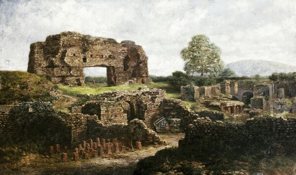 "WROXETER ROMAN CITY, Shropshire. ""Painting of Unknown Monument"". Artist unknown. (Appears to be Wroxeter Roman City)"