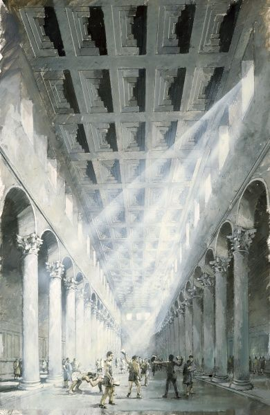 WROXETER ROMAN CITY, Shropshire. Reconstruction drawing of interior of exercise hall or basilica by Ivan Lapper