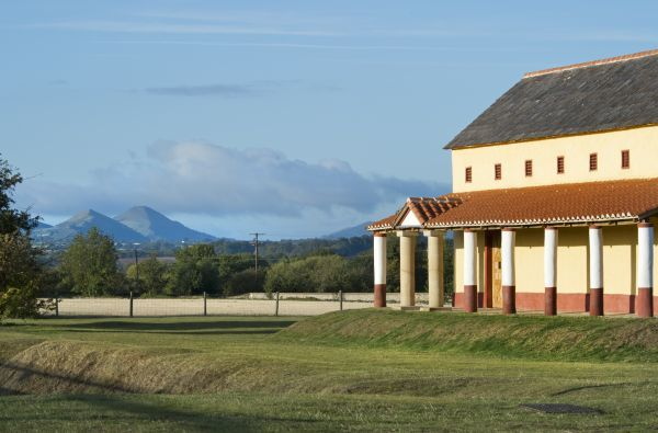 WROXETER ROMAN CITY, Shropshire. The recreated Villa and Shropshire hills beyond