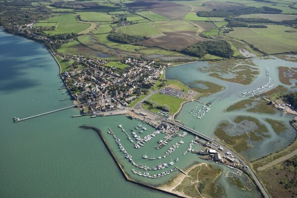 YARMOUTH CASTLE, Isle of Wight. Aerial view of Yarmouth town and harbour