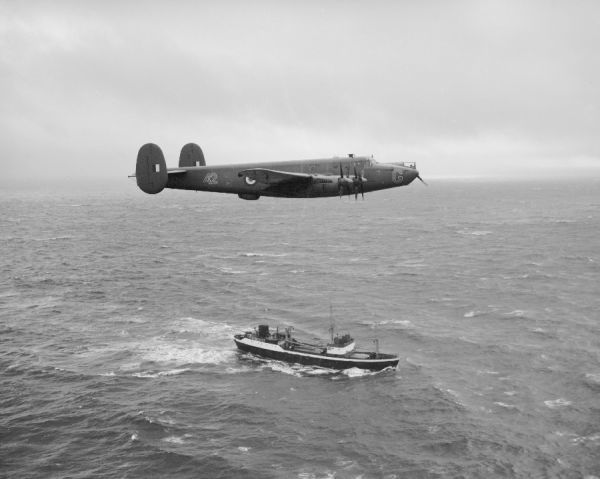 Avro Shackleton MR.2 of 42 Squadron RAF from St Eval on patrol off Cornwall 26 November 1956