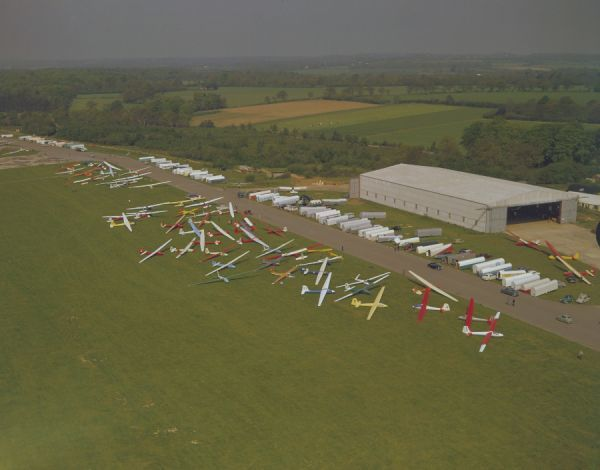 Aerial view of the competitors for the British Gliding Championships, Lasham 1963