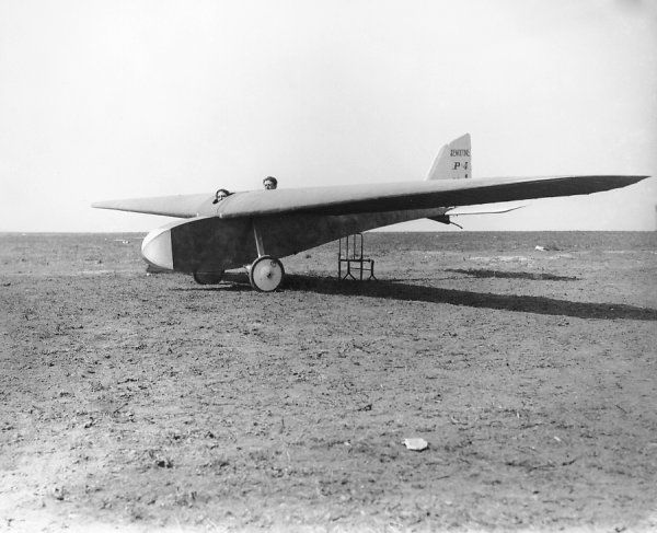 Dewoitine P.4 on the ground with tail trestled, Vauville 1923