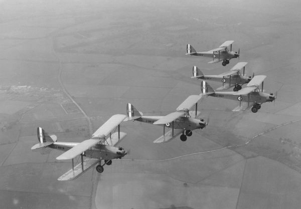 De Havilland D.H.60 Genet Moth aircraft of the Central Flying School rehearsing for the RAF Display, 1930