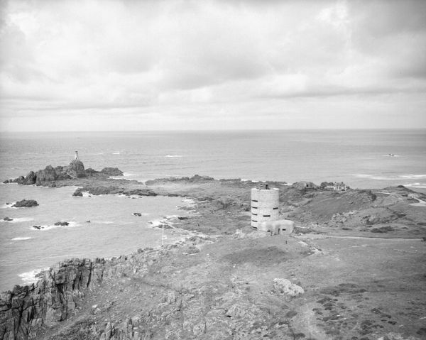 A view of a German concrete watch tower on the coast of Jersey