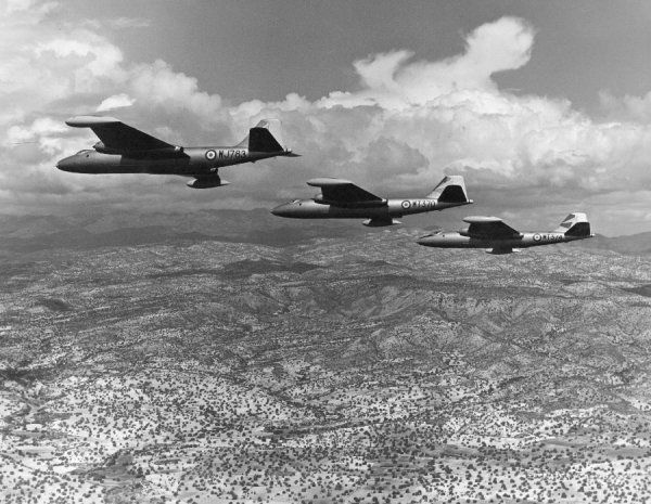 English Electric Canberra B.2 aircraft of 249 Squadron RAF near Limassol, Cyprus, April 1960