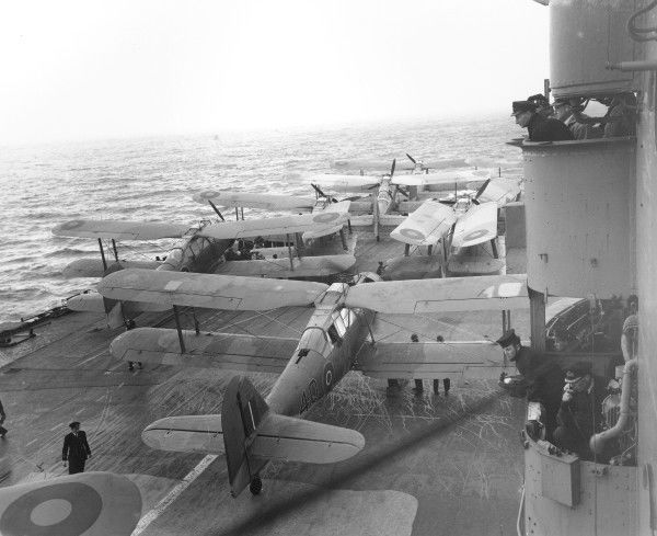 Fairey Albacore aircraft of 831 Squadron on the deck of HMS Indomitable, 1943