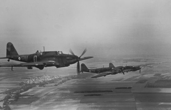 Fairey Battles of 103 Squadron, in flight over France, 1940