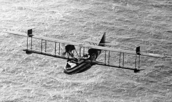 Felixstowe F.2a with dazzle camouflage on anti-submarine patrol
