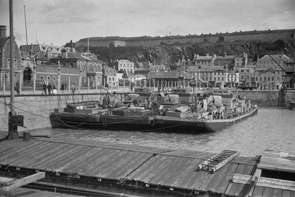 German barges in St Helier harbour, Jersey May 1945