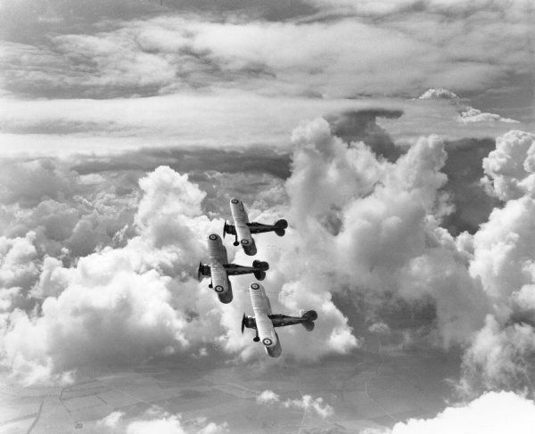 Three Gloster Gladiator I aircraft of 87 Squadron, RAF, tied together in formation, Debden, 1938
