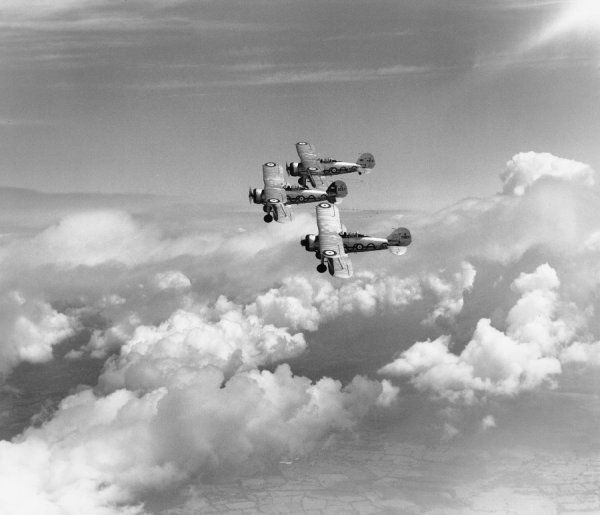 Gloster Gladiator I aircraft of 87 Squadron RAF tied together in formation, Debden, 1938
