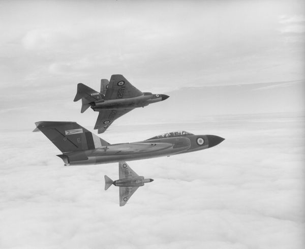 Gloster Javelin FAW.1 aircraft (XA620, XA627, XA618 and XA619) of 46 Squadron RAF flying in formation from Odiham, 4 December 1956